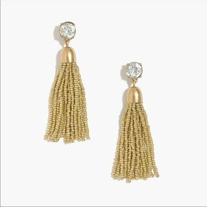 J.Crew Gold Beaded Tassel Earrings NWOT